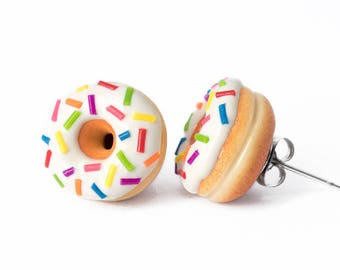 Handmade White Donut Stud Earrings Topped with Sprinkles, Doughnut Earrings,Donut Stud Earrings, White Donuts