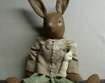 EASTER SUNDAY Bunny Pattern -my primitive saltbox pt100/spring rabbit/primitive pattern/instant download