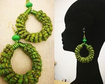 Spring Greens yarn wrapped hoop earrings