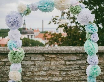 CUSTOM COLORS 15 tissue paper pompoms engagement wedding decorations party baby bridal shower graduation aisle arbor arch chuppah ceremony