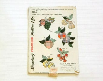 Vintage 1946 Gay Plaid Applique Embroidery Tranfer Pattern