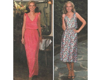 Blouson Sun Dress Pattern Shoulder Tie Sundress V Neck V Back Maxi Dress 1970s Sewing Pattern Jiffy Simplicity 8955 Bust 31.5