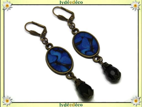 Earrings retro vintage oval cabochon black ultramarine blue butterfly resin bronze beads glass pendants 20 mm x 15mm