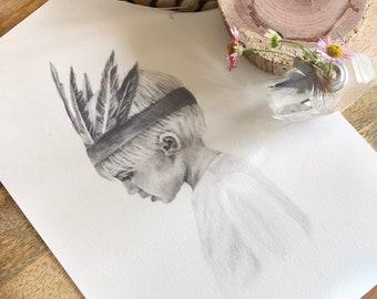 Wild Child Boho Tribe Boy Nursery Children's Art Print