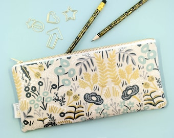 Floral Pencil Case, Tapestry Zipper Pouch, Rifle Paper Co Pencil Pouch, Rifle Pen Case, Makeup Brush Pouch, Art Supply Case Floral Pouch