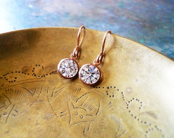 Rose Gold Earrings - Tiny Rose Gold Filled Crystal Earrings - Rose Gold Earrings, 14K Rose Gold Filled Earrings, Pink Gold Earrings