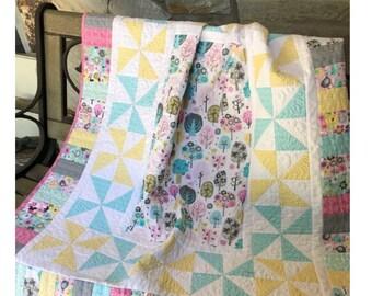 "Baby Quilt Pattern -  Dreamland Park Modern Baby Quilt - Size 40"" x 46"" -  Confident Beginner -Hard Copy Version - FREE SHIPPING!"