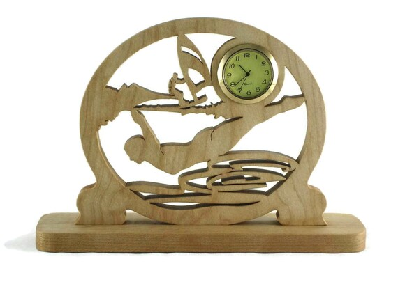 Water Sports Themed Desk Clock Handmade From Maple Wood, Diving, Sailing, Swimming, Summertime Fun