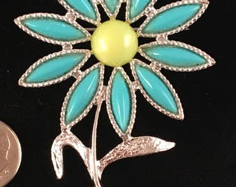Vintage Sarah Coventry Faux Turquoise Flower Brooch