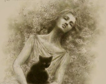 Free Shipping to US - Monochromatic Evocative Woman with Black Cat Fantasy Art - Dernier Lamento - 8x10 Signed Print - by Mitzi Sato-Wiuff