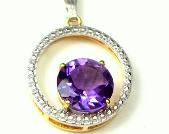 9K Solid Yellow Gold, Amethyst Pendent, Two-tone Gold, 3CT. Faceted, Deep Purple Amethyst, Circle Pendent, February Birthstone