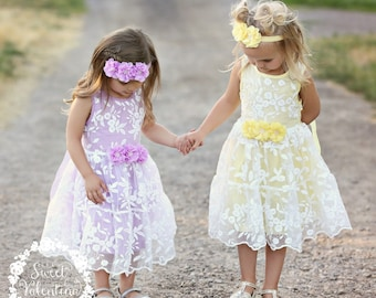 Girls dress, lace flower girl dress, yellow girls lace dress, easter dress, lavender lace dress, rustic flower girl dress, birthday dress