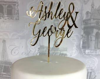 Personalised wedding cake topper first Mr & Mrs names custom lasercut script acrylic UK script swirly swirl engaged engagement glitter