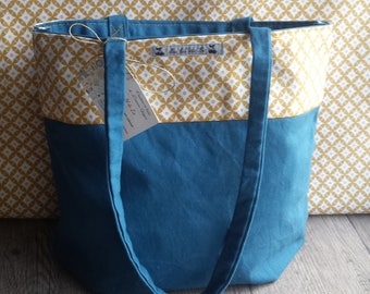 Bag Tote bag teal and mustard yellow geometric patterns or shopping bag