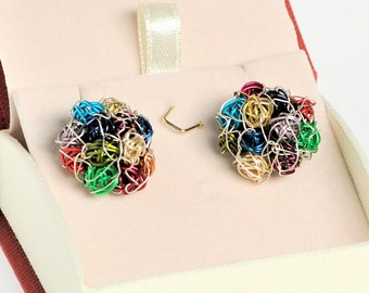 Flower earring, wire jewelry, ball earring, ball drop earring, flower jewelry, colorful earring, boho jewelry, Spring unique gift for sister