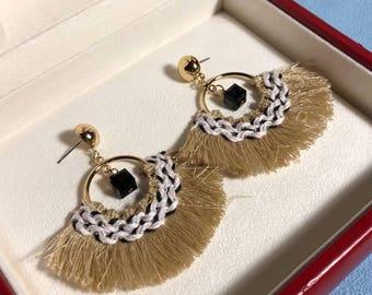 Tassel earrings boho bohemian gold hippie kawaii