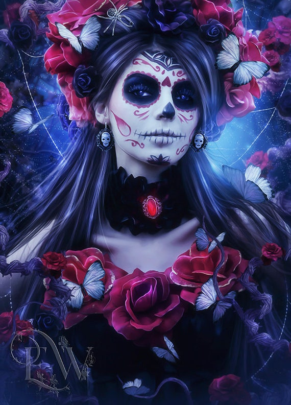 Day Of The Dead Sugar skull wall art print by Enchanted Whispers