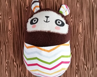Stuffed panda bear soft baby toy with colorful chevron front pouch. Handmade.