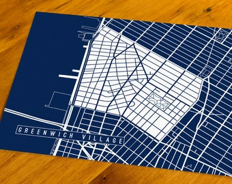 Greenwich Village - NYC, NY - Map Art Print  - Your Choice of Size & Color!