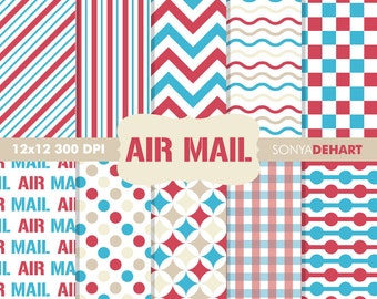 80% OFF SALE Scrapbook Papers, Digital Scrapbooking, Postal Digital Paper, Mail Digital Papers, Air Mail Papers, Postage Patterns