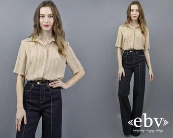 Striped Blouse 70s Blouse 1970s Blouse Button Up Blouse Short Sleeve Blouse Beige Blouse Secretary Blouse Striped Shirt Work Blouse L XL