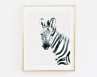 Watercolor zebra wall art - Zebra print - Watercolor prints - Printable home decor - Printable wall art - Gallery wall prints- Monochromatic