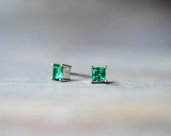 Emerald Earrings, Green Earrings, Emerald Studs, Emerald Jewelry, Sterling Silver Gemstone Earrings, May Birthstone Earrings, Square Studs