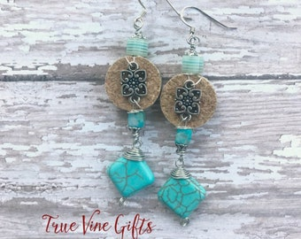 Wine Cork Earrings in Turquoise and Silver