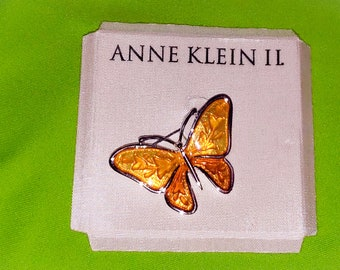Vintage Anne Klein Yellow Butterfly Brooch on Card Nice