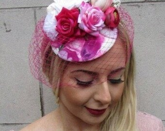 White Hot Pink Rose Tulip Flower Birdcage Veil Hair Fascinator Races Hat 4965