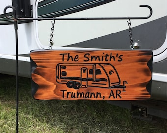 Camping Sign RV Custom Name Sign #006