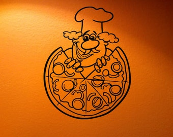 Wall Vinyl Sticker Decals Mural Room Design Pattern Pizza Slice Cook Food   bo1365