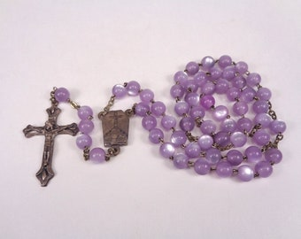 Purple Rosary, Vintage Rosary With Virgin Mary Mother of Jesus, Christian Prayer Beads, Crucifix Cross, Communion Rosary Made in Italy