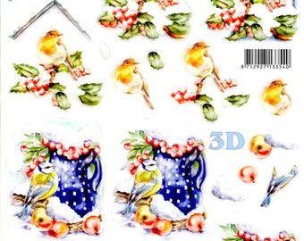12 - leaf 3d red predecoupee throat and chickadee in the snow
