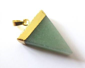 Pendant stone Triangle green AVENTURINE set gold