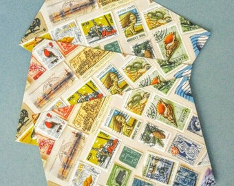 Set of Postcards with Rainbow of Vintage Postage Stamps - Postcrossing Snail Mail Exchange