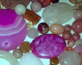 Assorted Pink Agate Destash (25 beads)