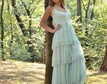 Lace Wedding Dress, Bohemian Wedding,Boho Wedding Dress, Boho Bridal Dress, Open Back Gown, Long Gown, Minty Wedding Dress, SuzannaM Designs