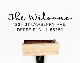 Custom Personalized Return Address Pre-Designed Rubber Stamp - Branding, Packaging, Party, Invitations, Tags, Wedding - A014