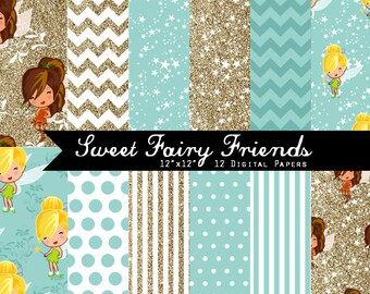 Sweet Fairy Friends Digital Paper set I N S T A N T • D O W N L O A D- turquoise, white and gold glitter,Tinkerbell & Fawn