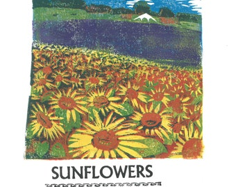 Sunflowers at Hitchin Lavender Lino and Letterpress Print