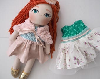 Heirloom Handmade Doll - Red Hair, Ginger Hair - Handmade Doll - The Garden in Bloom Collection