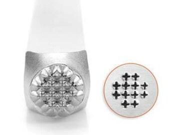 ImpressArt Metal Design Stamp, 6mm Small Cross Texture Design Jewelry Leather Wood PMC Metal