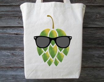 Hop Tote, Beer Tote, Hop with Sunglasses, Sunglasses on a Hop, Beer Lover Gift, Beer Hop, Beer Hop Tote, Cotton Canvas Tote, Craft Beer Tote