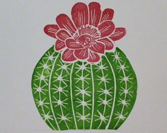Linocut cactus print
