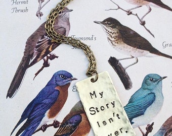 My Story isn't over. - Custom Hand Stamped Hammered Brass Necklace