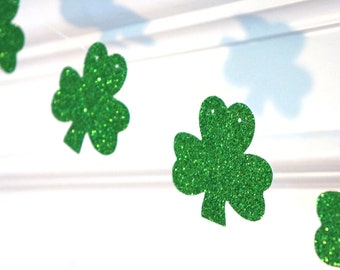 St. Patrick's Day Banner - GREEN GLITTER SHAMROCK garland