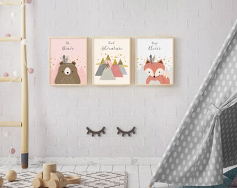 Woodlands Nursery, Set of 3, Forest Animal Set, Print Set, Nursery Art, Forest Friends, Nursery Forest Decor, Fox Bear, mountains, Pink baby