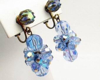 Long Dangly Blue Crystal Earrings Vintage Crystal Jewelry