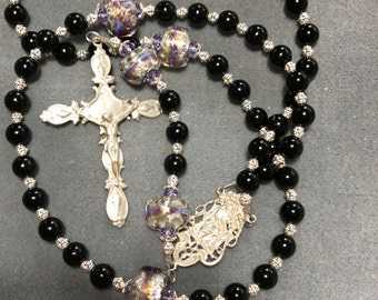 Onyx Rosary Black Sterling Silver Lampwork Glass Cable HeartFelt Rosaries